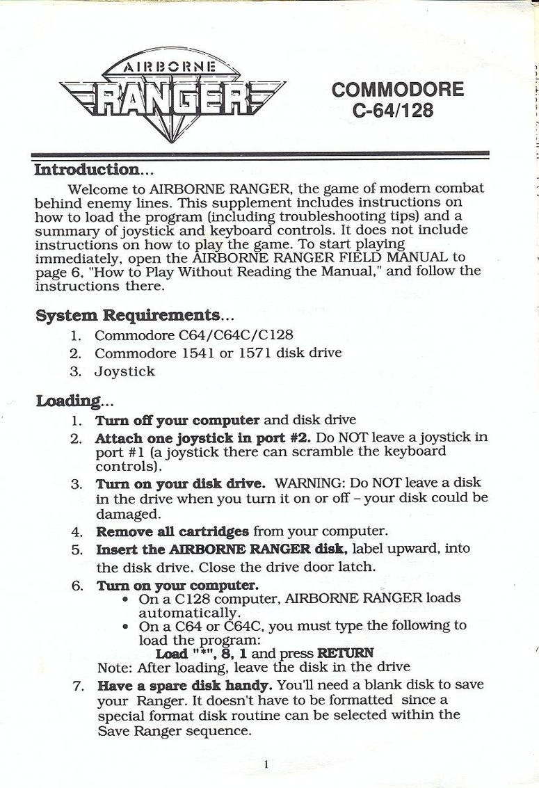 Airborne Ranger quick start guide page 1. «
