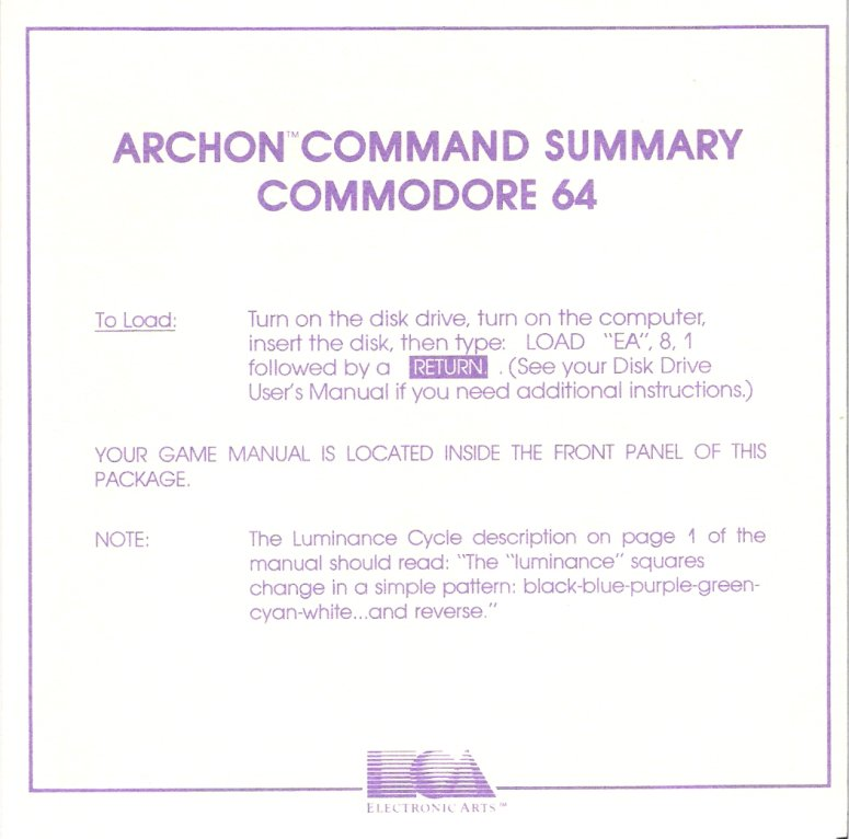 Archon Command Summary Page 1