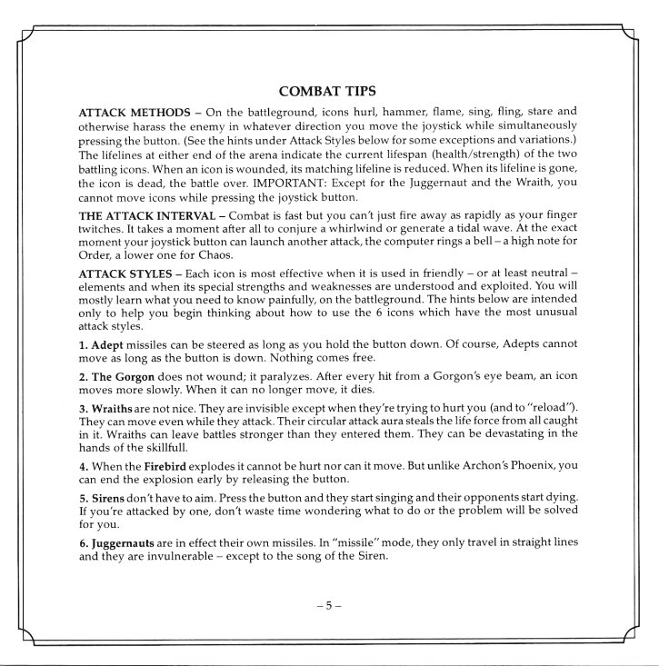 Archon II Manual Page 5