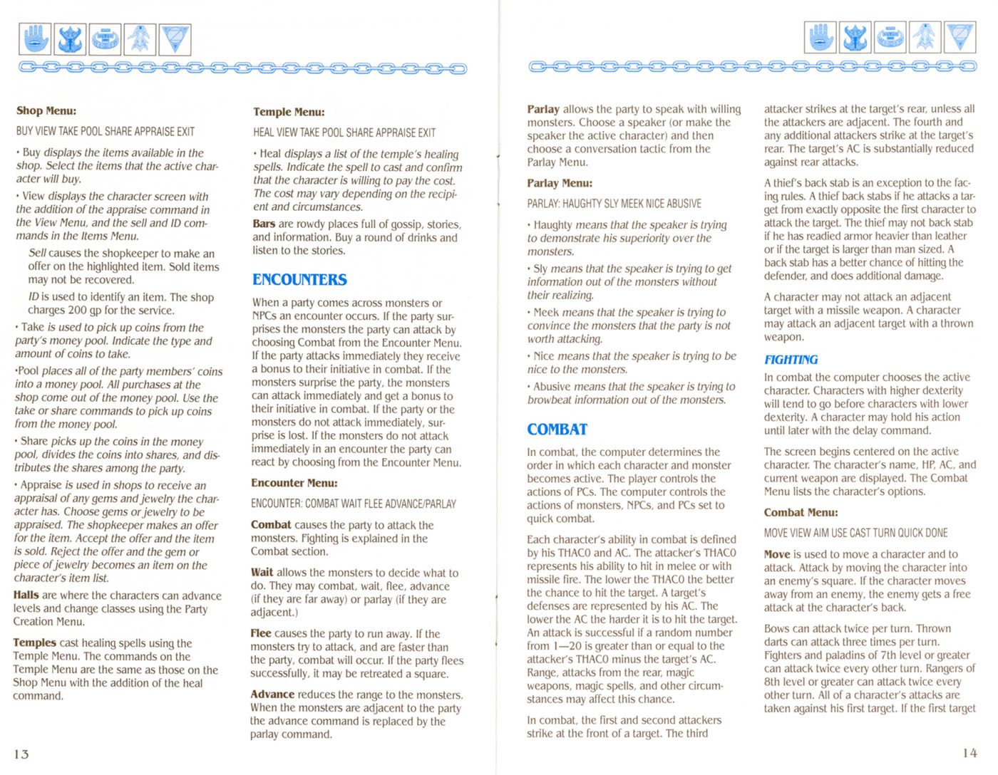 Curse Of The Azure Bonds manual page 13