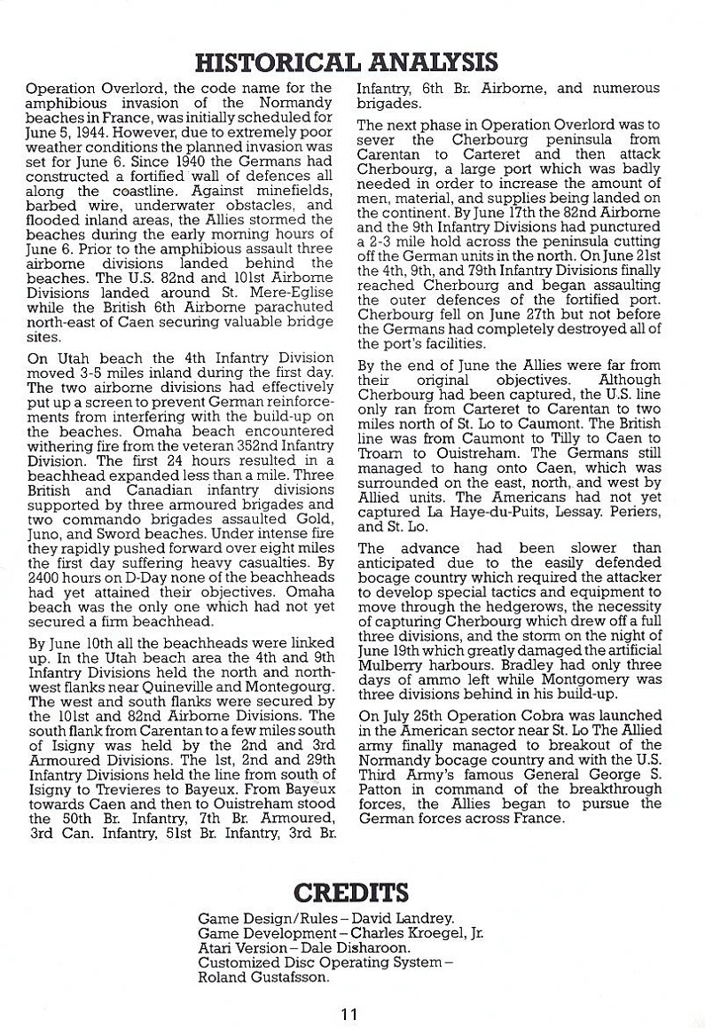 Battle for Normandy manual page 11