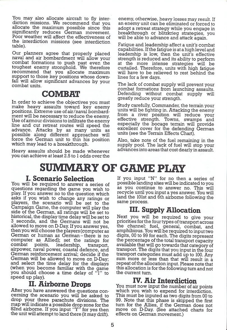Battle for Normandy manual page 5