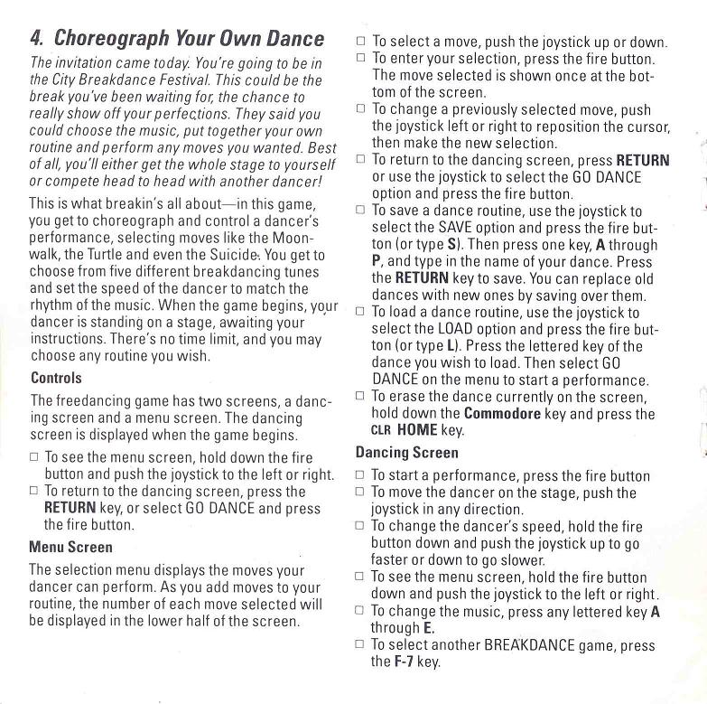 BREAKDANCE Manual Page 4