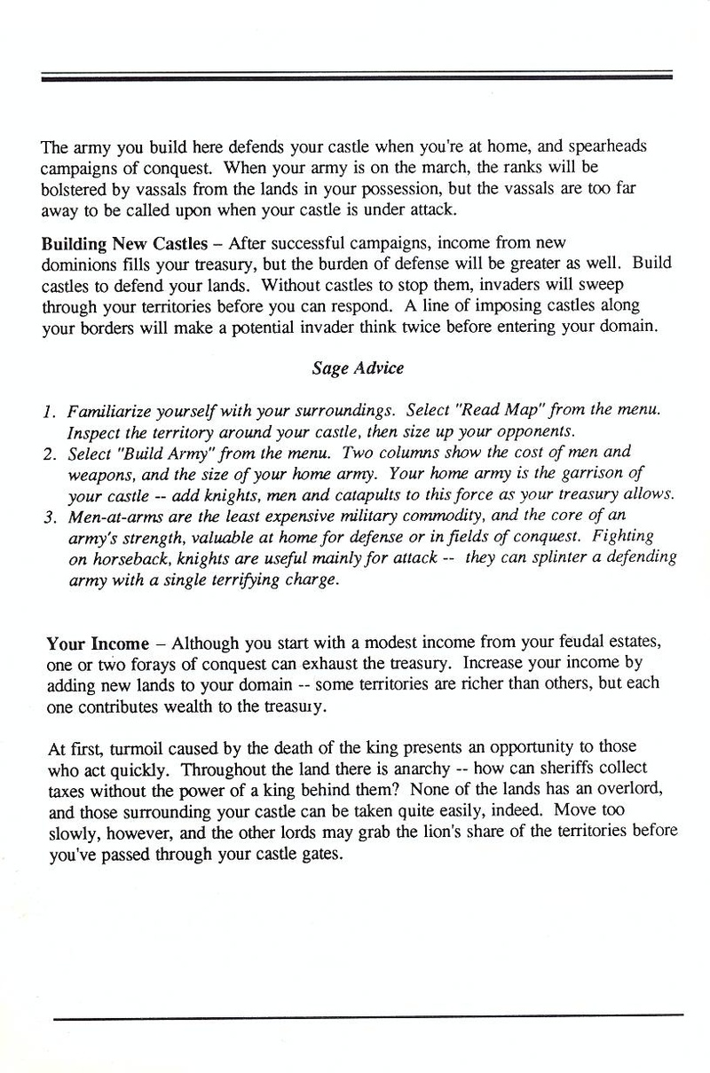 Defender of the Crown manual page 5
