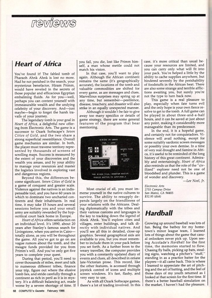 Heart of Africa COMPUTE!'s Gazette Review: February 1986