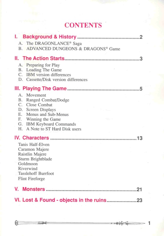Heroes of the Lance Manual Page 1