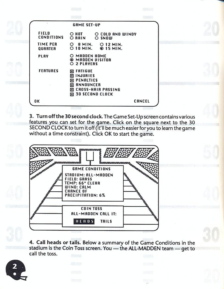 John Madden Football manual page 4