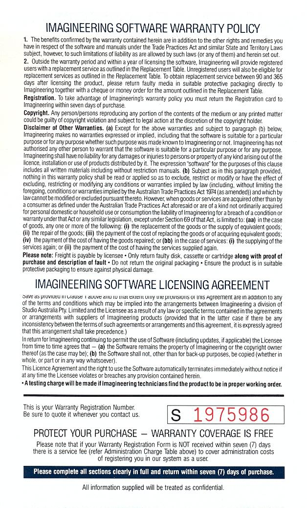 L.A. Crackdown warranty page 2