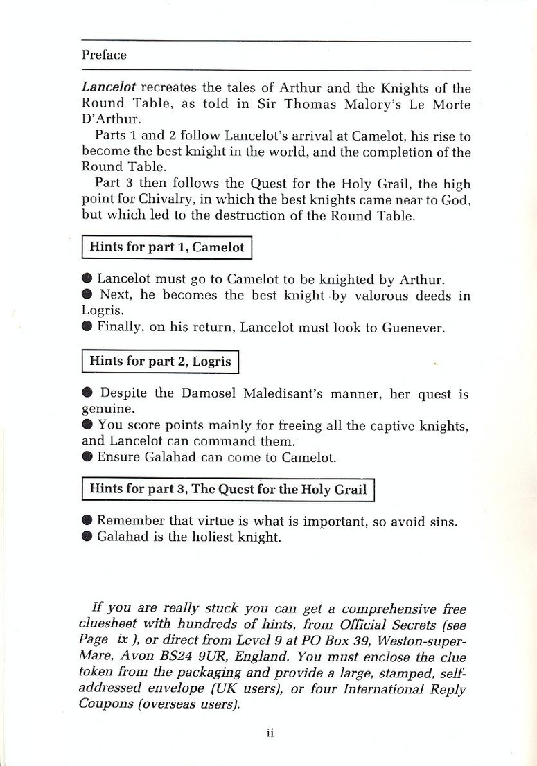 Lancelot manual page ii