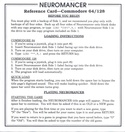 Neuromancer reference card 1