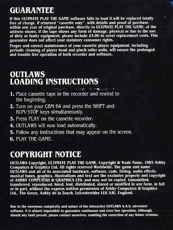 Outlaws inlay inside page 3