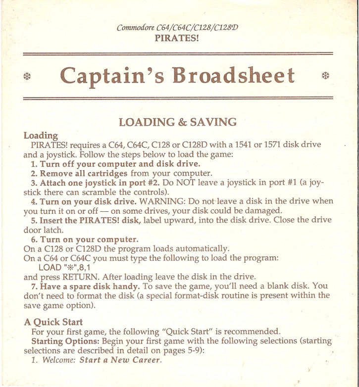 Pirates! Captains Broadsheet page 1