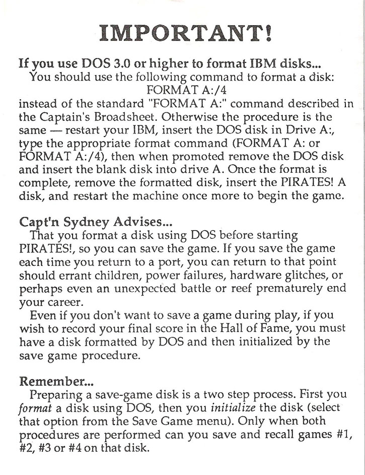 Pirates! format instructions