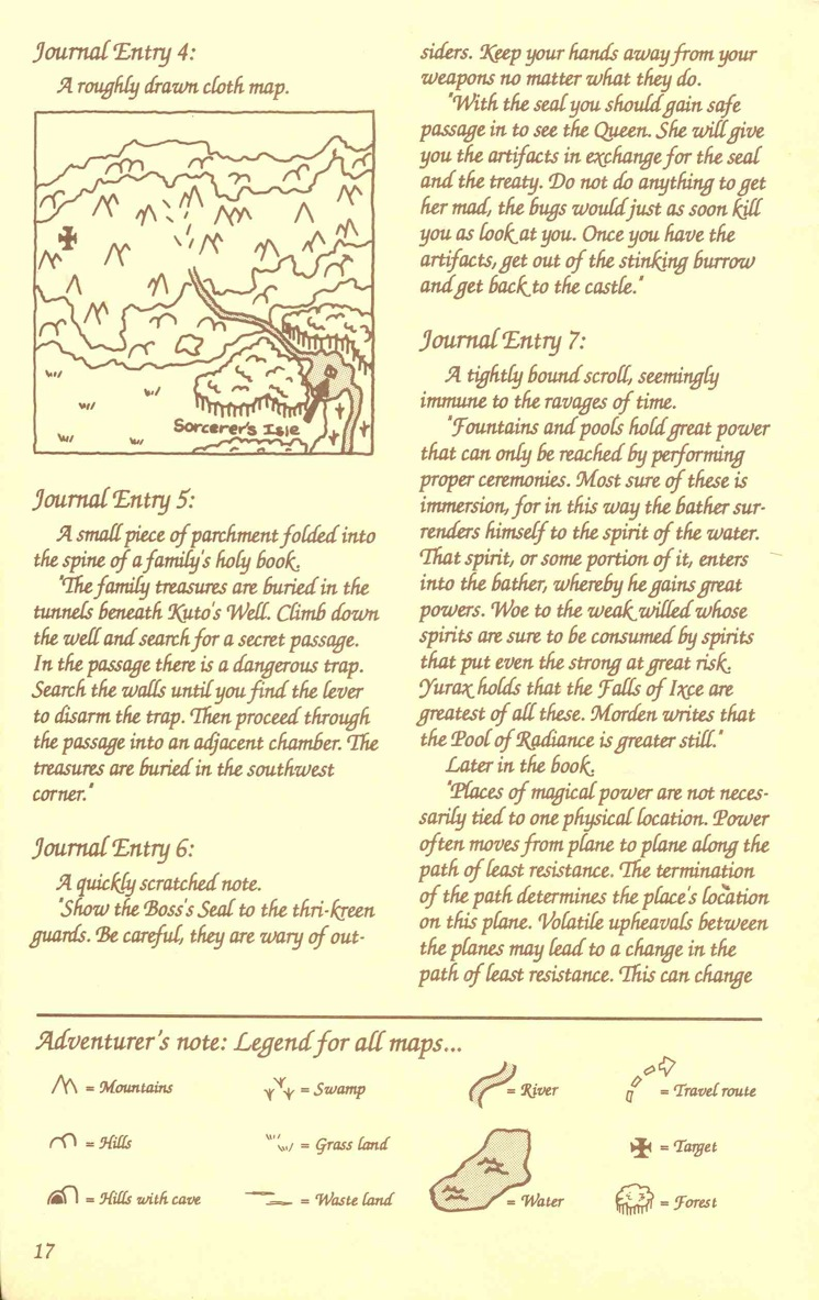 Pool of Radiance Adventurers Journal Page 17