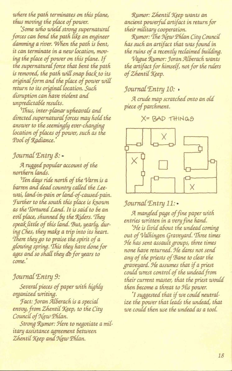 Pool of Radiance Adventurers Journal Page 18