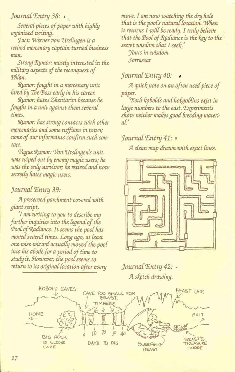 Pool of Radiance Adventurers Journal Page 27