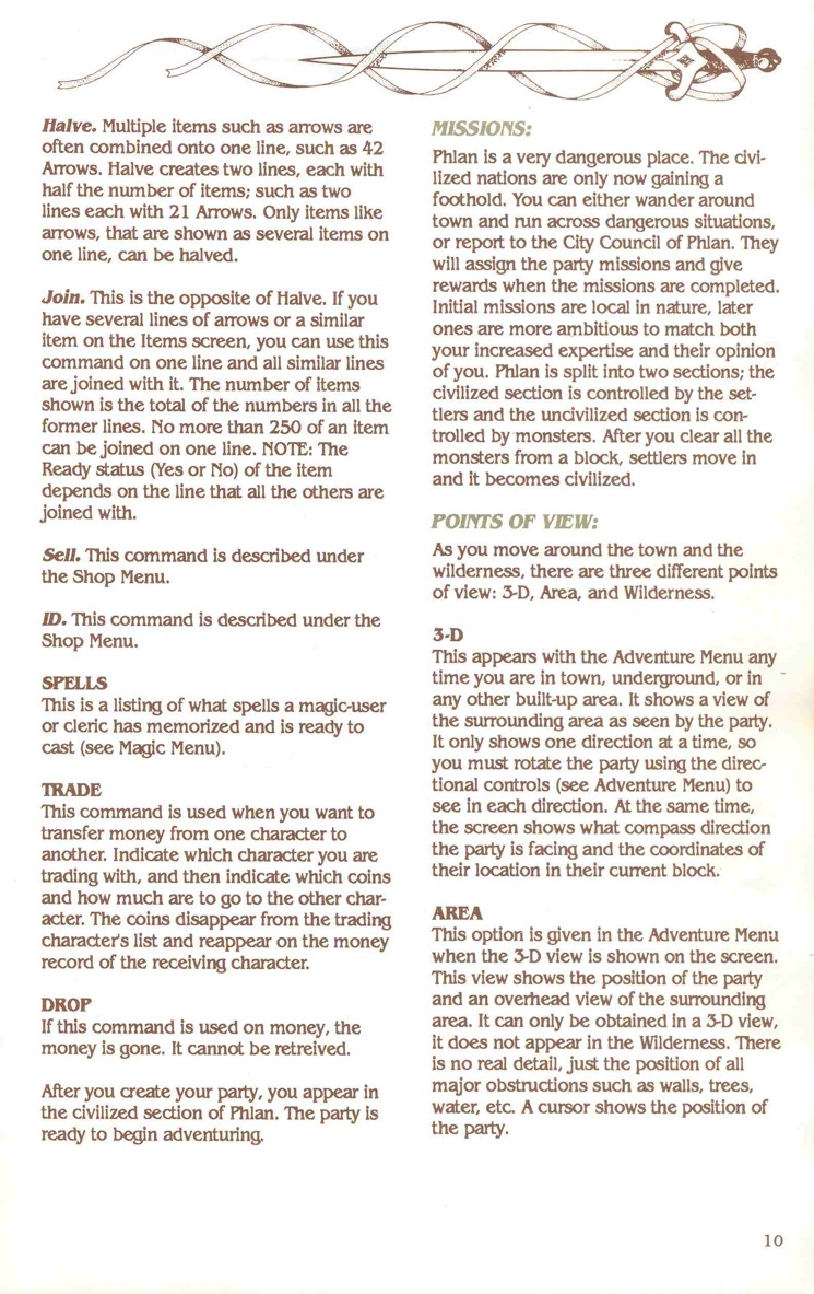 Pool of Radiance Manual Page 10