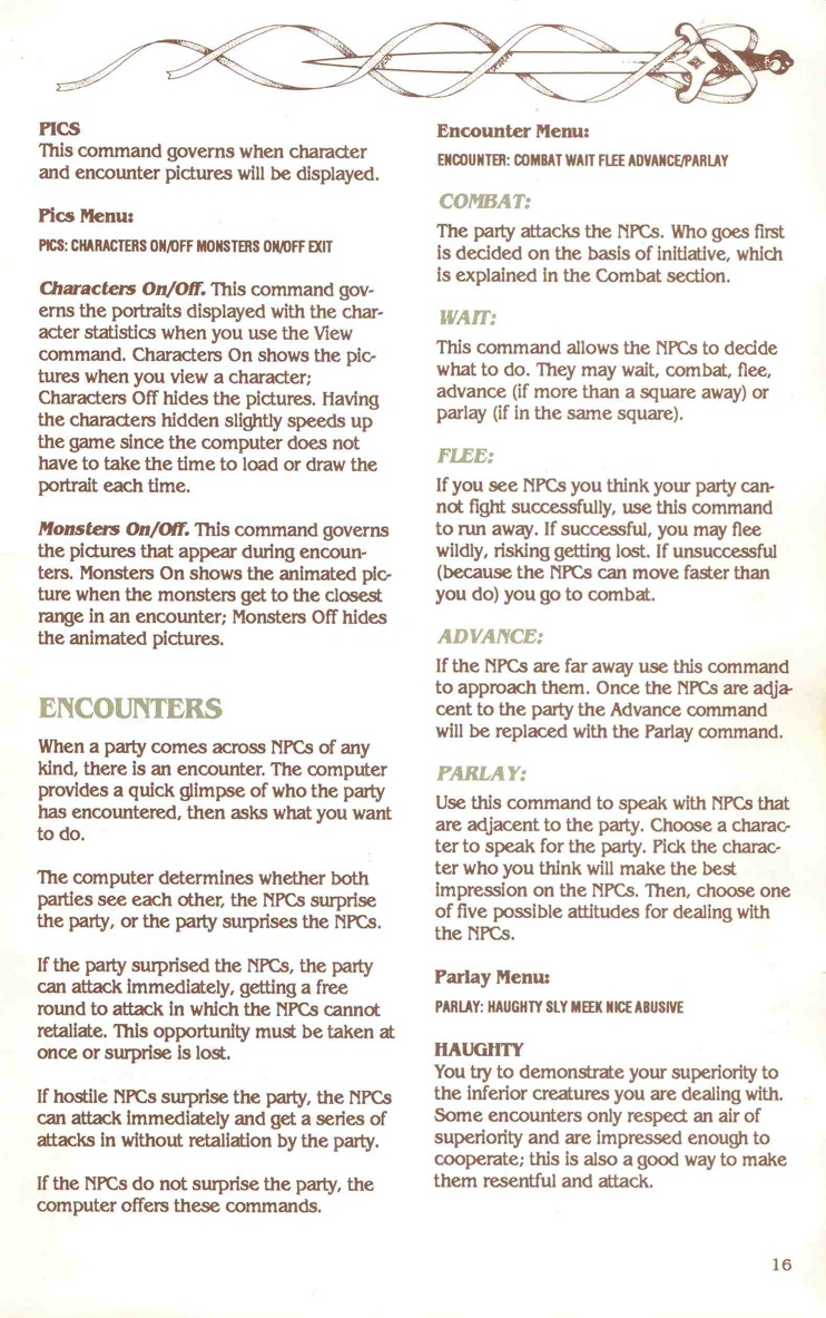Pool of Radiance Manual Page 16
