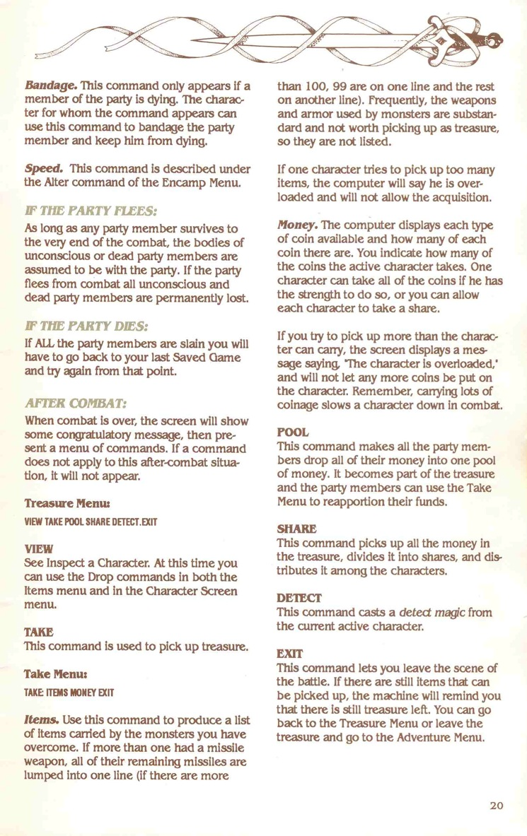 Pool of Radiance Manual Page 20