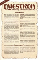 Questron command card page 1