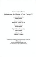 Sinbad and the Throne of the Falcon manual page i