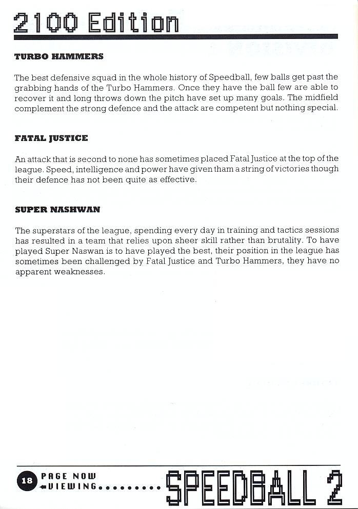 Speedball 2: Brutal Deluxe manual page 18