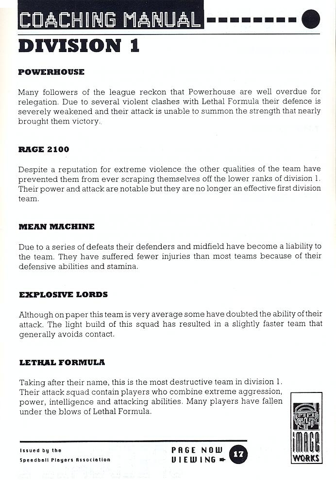 Speedball 2: Brutal Deluxe manual page 17