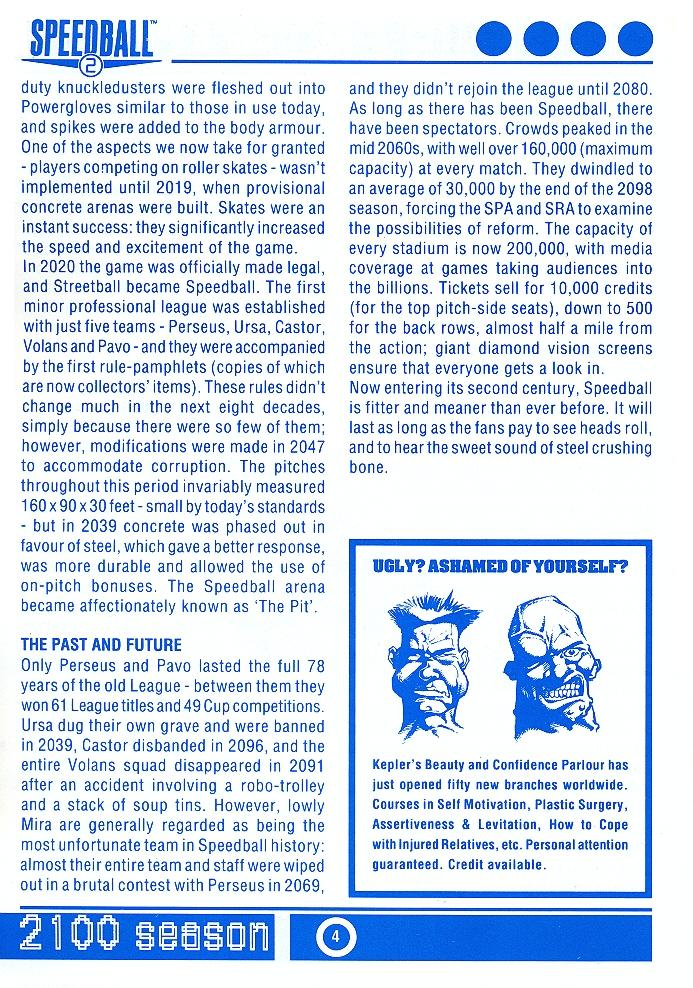 Speedball 2: Brutal Deluxe Souvenir Programme page 4
