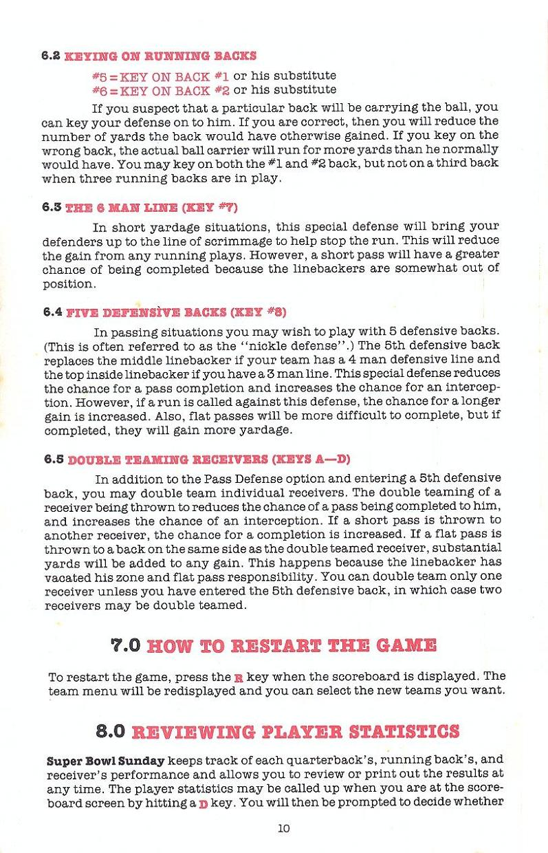Superbowl Sunday manual page 10