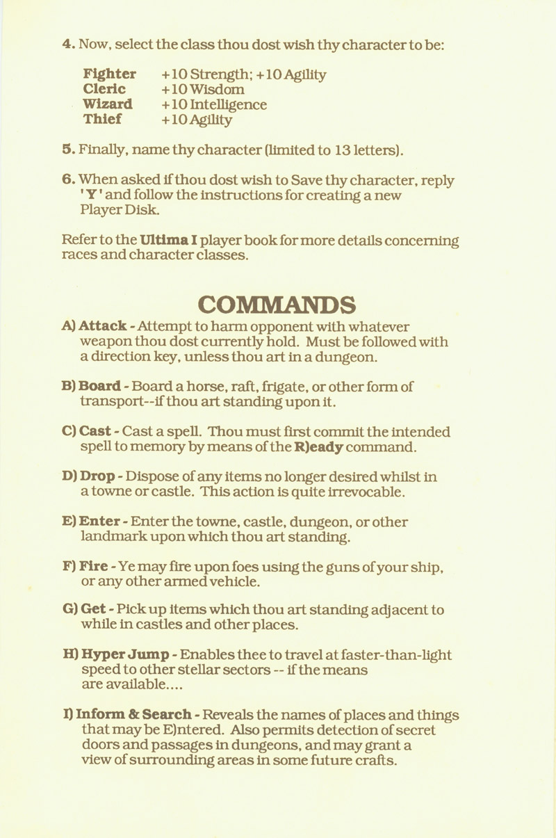 Ultima I player reference card page 3