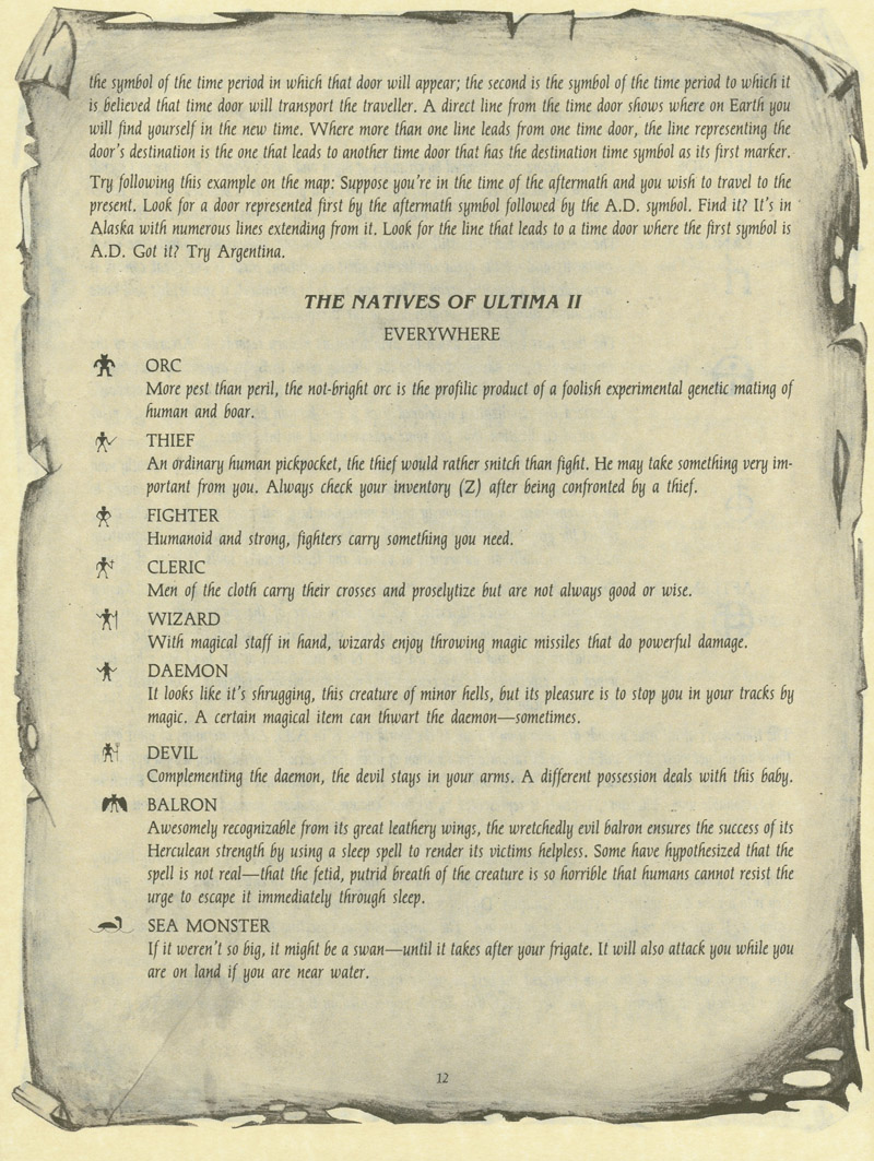 Ultima II: The Revenge of the Enchantress manual page 12
