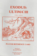 Ultima III: Exodus player reference card 1