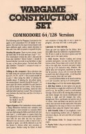 Wargame Construction Set Commodore 64 Instructions Page 1