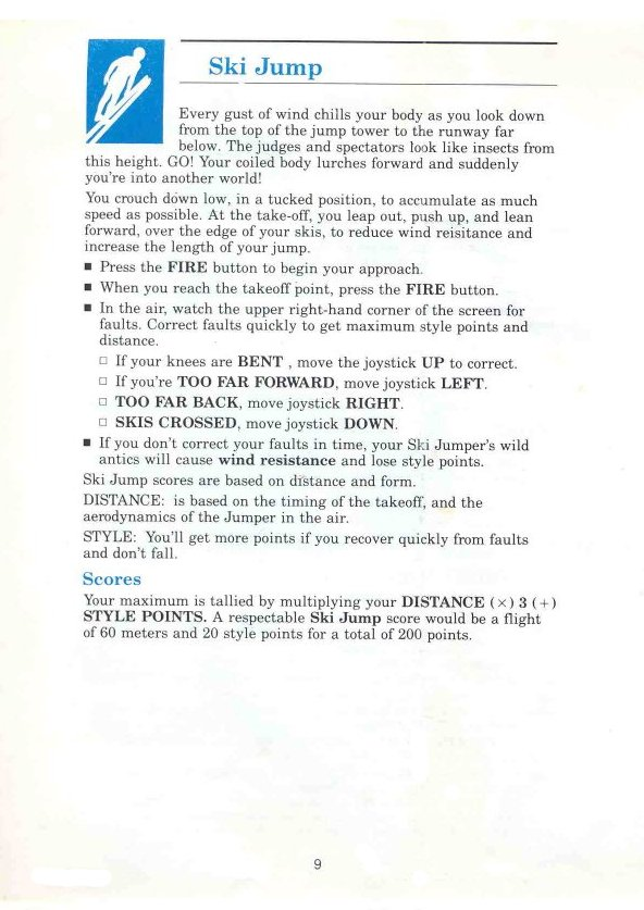 Winter Games Manual Page 9