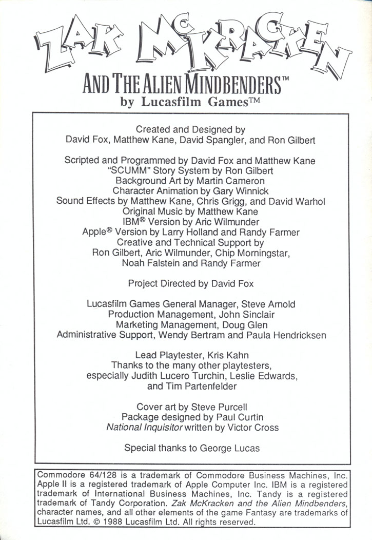 Zak McKracken and the Alien Mindbenders manual page i
